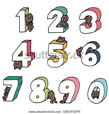 bear cartoon number set - stock vector