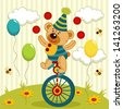 bear clown juggles and rides a unicycle - vector illustration - stock
