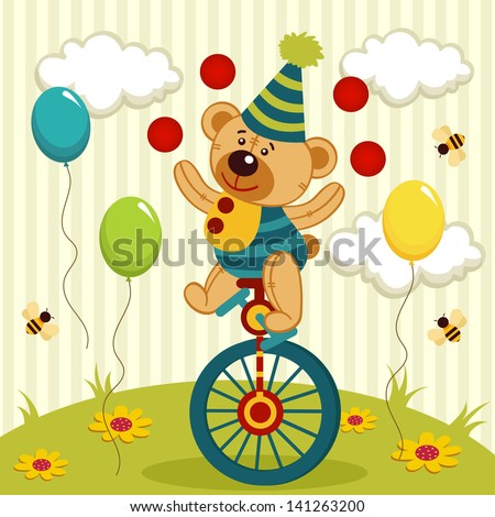 bear clown juggles and rides a unicycle - vector illustration - stock vector