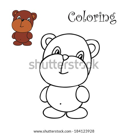 bear. Coloring for kids of color samples