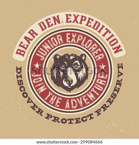 Bear Den Expedition Junior Explorer Textured T Shirt Apparel Print Vintage Americana Style Tee Graphics