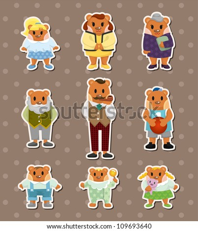 bear family stickers - stock vector