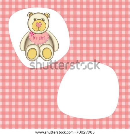 Bear for baby girl . Good for photo frame - stock vector