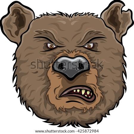 Bear furious face - stock vector