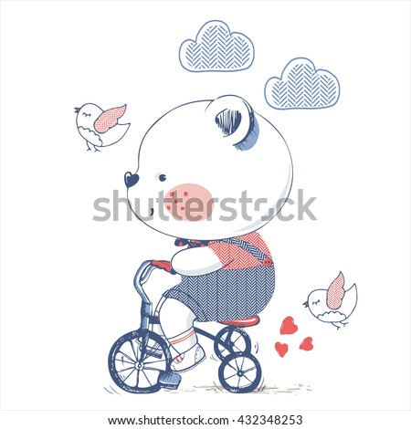bear/hand drawn vector illustration of Cute Bear Riding a Bicycle/Tricycle/can be used for kid's or baby's shirt design/fashion print design/fashion graphic/t-shirt/kids wear/tee