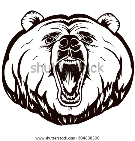 Bear head detailed logo. Black and white vector illustration can be used as logo or emblem and for sport or hunting design products.  - stock vector