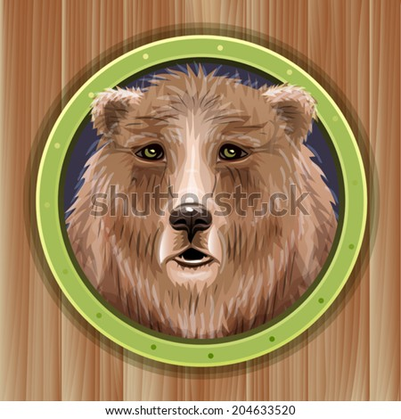 Bear head on wooden background, symbol of ecology, endangered species, and environmental preservation  - stock vector