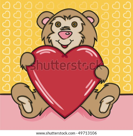 Bear Heart - stock vector