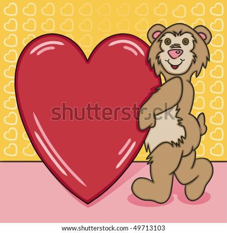 Bear Heart Too - stock vector