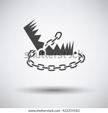 Bear hunting trap  icon on gray background with round shadow. Vector illustration.