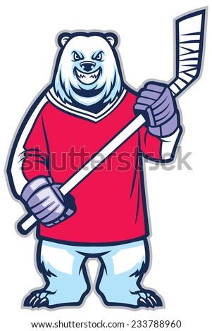 bear ice hockey mascot - stock vector