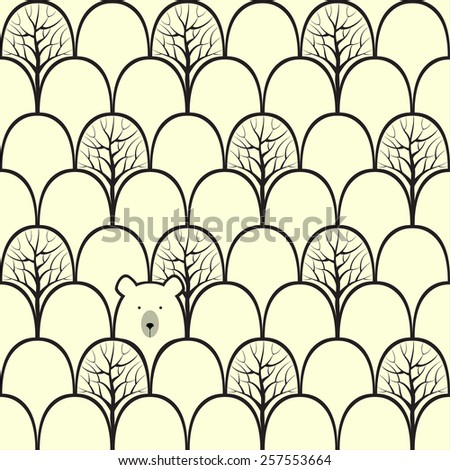 Bear in a forest seamless pattern. Vector design background. - stock vector