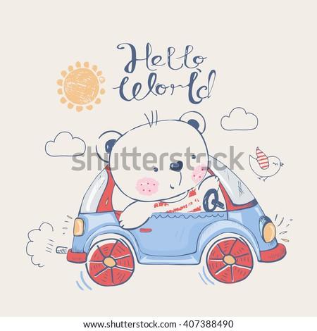 Bear Car Be Used Kids Babys Stock Vector (2018) 407388490 - Shutterstock