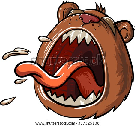 Bear in pain with a mouth wide open and a big tongue. Crying and shouting character. Comic hero vector illustration isolated on white background. - stock vector