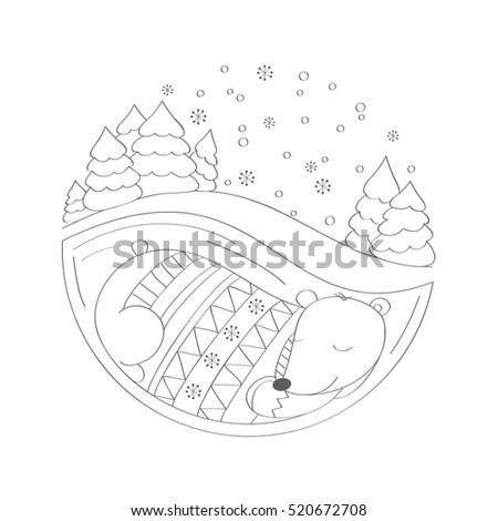 Bear in retro-patterned sweater sleeping in its winter lair, with snow-covered treesabove it. Coloring book for adults and children.  Isolated vector design elements on a white background.