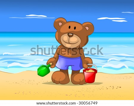 bear in vacation - stock vector