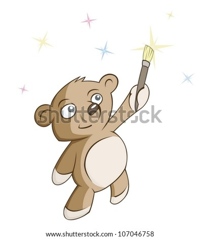 bear is drawing a star - stock vector