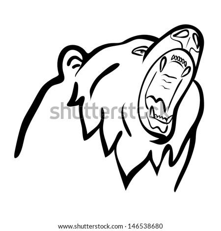 bear outline vector - stock vector