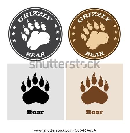 Bear Paw Print Circle Logo Design 2. Vector Collection Set - stock vector