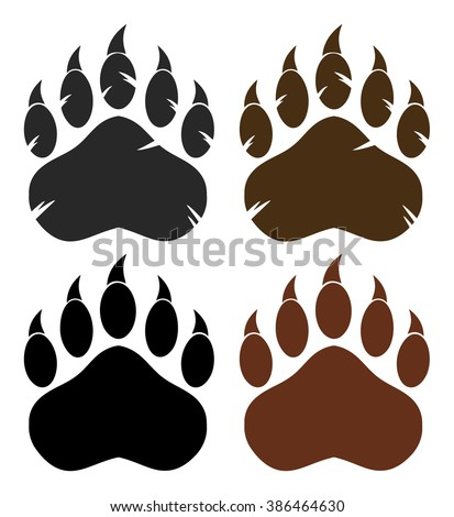 Bear Paw With Claws. Vector Collection Set - stock vector