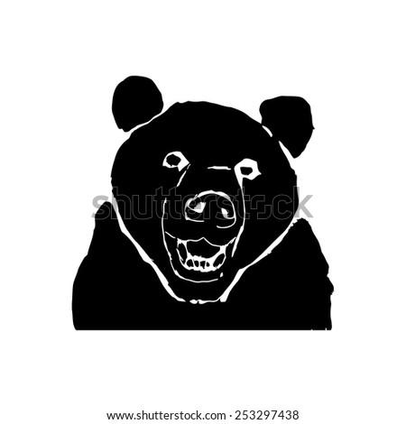 bear silhouette isolated on white background.grunge vector art illustration - stock vector
