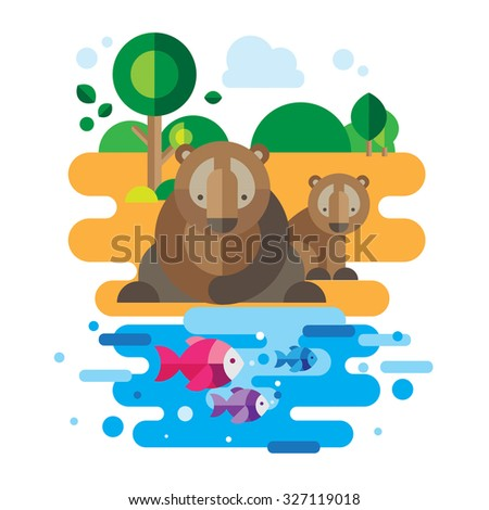 Bear sitting with his son looking at fish in the river - stock vector