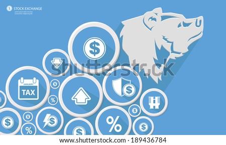 Bear Stock exchange concept,Blue version,vector - stock vector