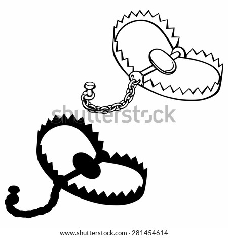 Bear trap. Isolated on blue background - stock vector