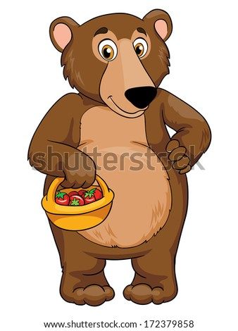 Bear with a basket, vector illustration on white background - stock vector