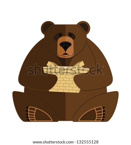 Bear with Basket. Vector illustration of a Bear with a Basket. - stock vector