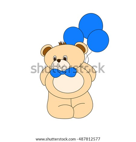 bear with blue balloons