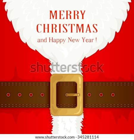 Beard and Santa suit with belt and gold buckle, illustration. - stock vector