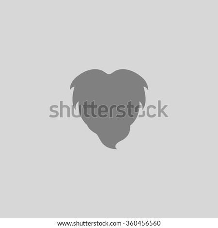 Beard - Grey flat icon on gray background - stock vector