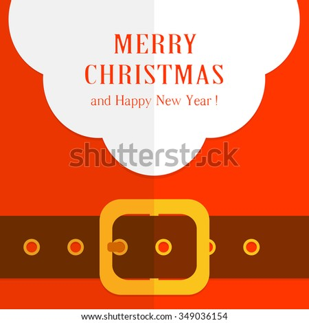 Beard of Santa and red suit with belt and buckle, illustration. - stock vector