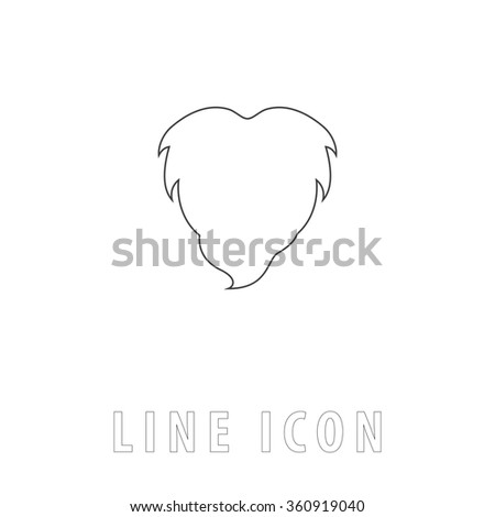 Beard Outline simple vector icon on white background. Line pictogram with text  - stock vector
