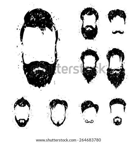 Beard set with grunge style.  - stock vector