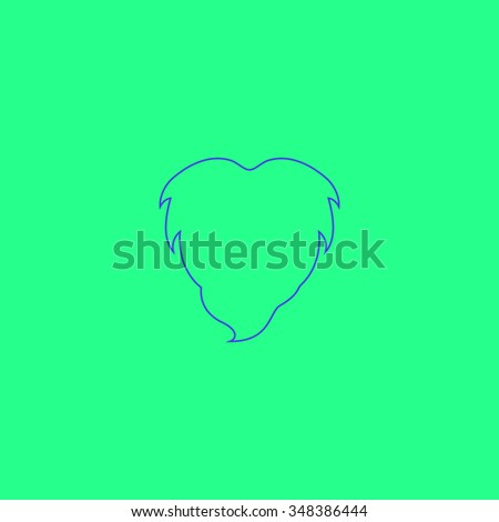 Beard Simple outline vector icon on green background  - stock vector