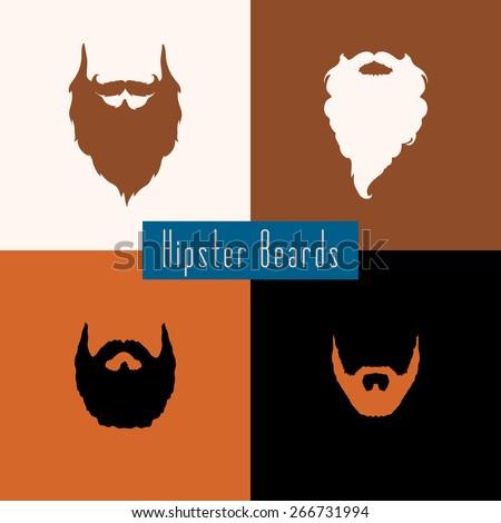 Beard style set with flat design . Vector illustration - stock vector