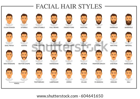 facial hair style names beard stock images royalty free images amp vectors 8416 | stock vector beard styles guide facial hair types vector illustration on white background mustache and beard 604641650
