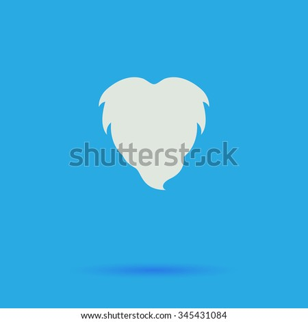 Beard White flat vector simple icon on blue background with shadow  - stock vector