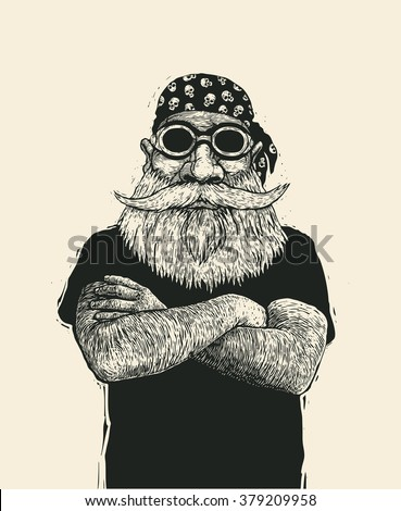 bearded biker in motorcycle sunglasses and bandana. hand drawn cartoon character. engraving style. vector illustration