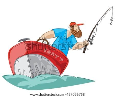 bearded fisher man in motorboat - cartoon - stock vector