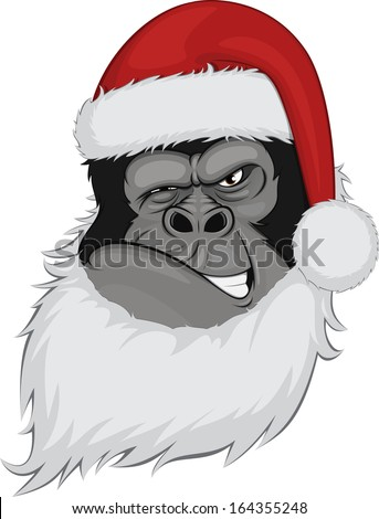 bearded gorilla - stock vector
