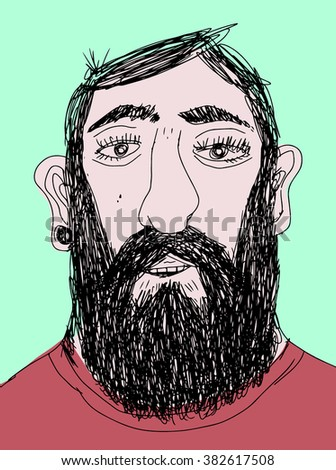 Bearded man - stock vector