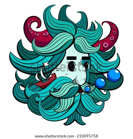 Bearded man illustration - stock vector