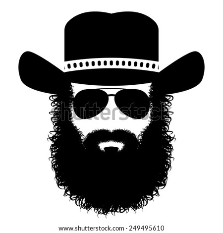 bearded man in a hat and sunglasses, illustrations - stock vector