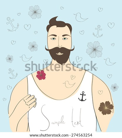 Bearded man on background with artworks - stock vector