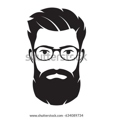 Set Vector Bearded Men Faces Hipsters Stock Vector 523618702 Shutterstock