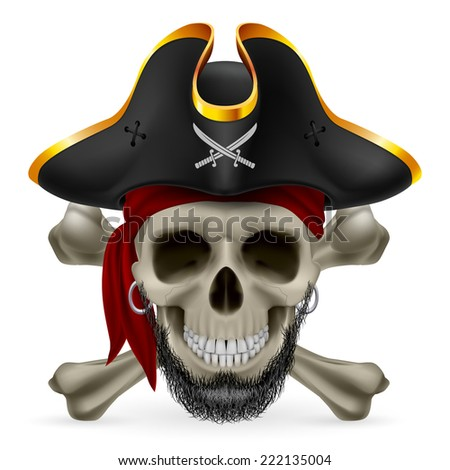 Bearded pirate skull in red bandana and cocked hat with crossed bones - stock vector