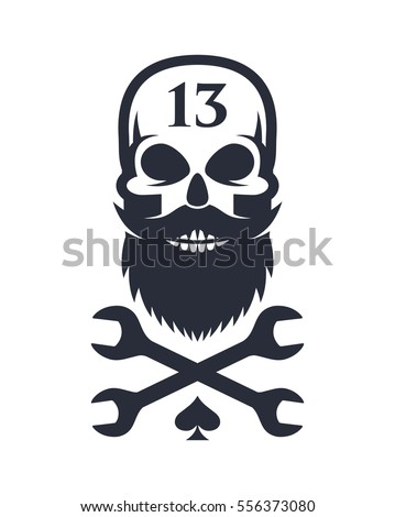 Bearded skull and crossed wrenches